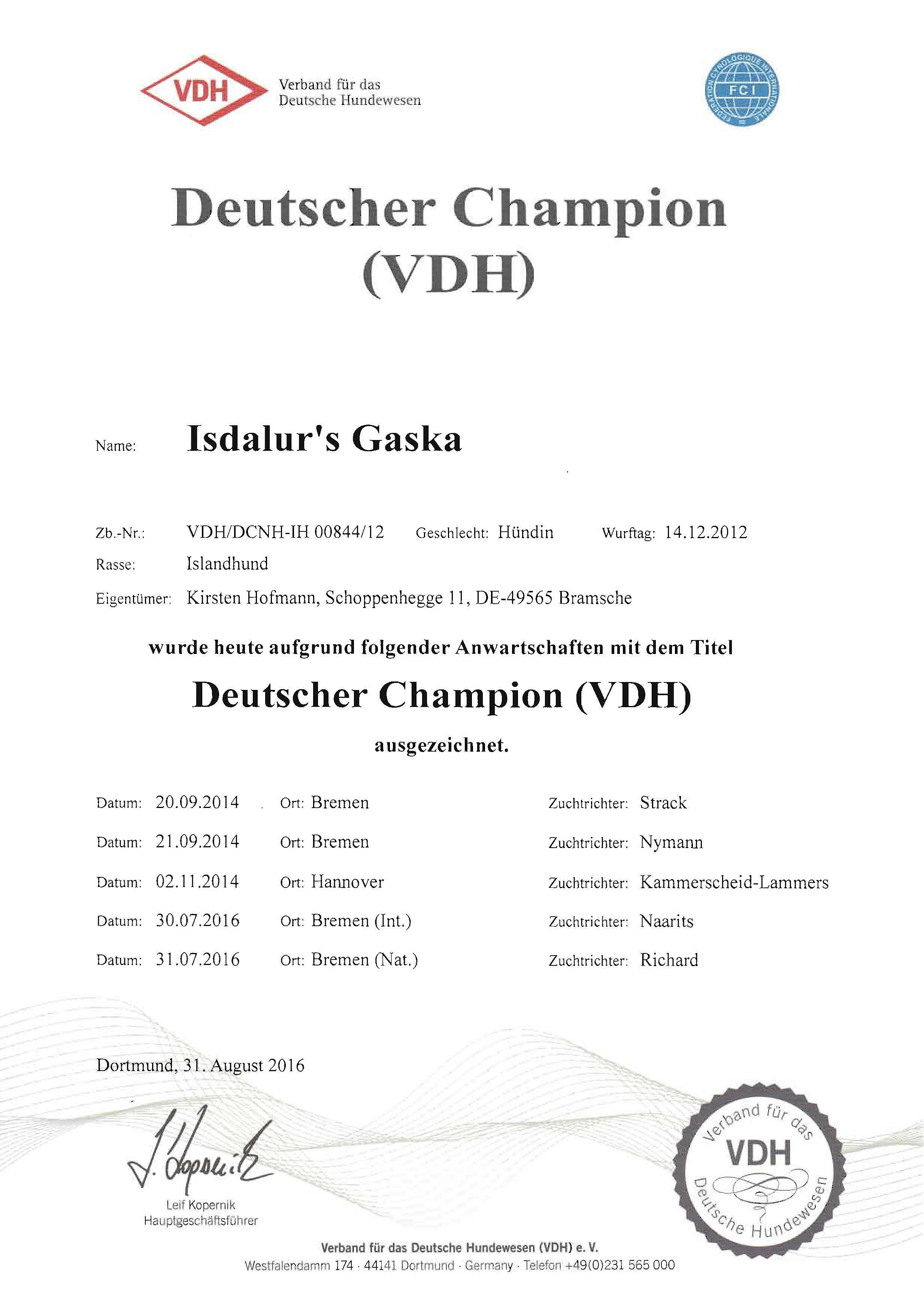 Gaska-VDH-Champion-Titel