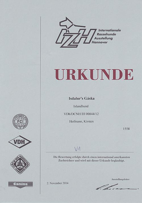 Gaska-InternRassehundeaustellung-2014-Urkunde