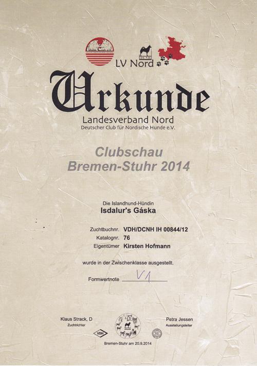 Gaska-Urkunde-Clubschau-Bremen-2014