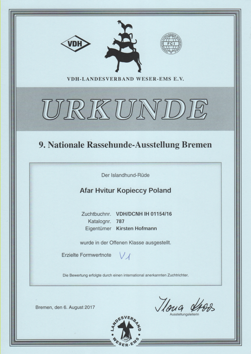 Kari-Nationale-Hundeschau-Bremen-2017-Urkunde